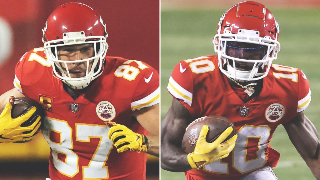 Travis Kelce and Tyreek Hill are the first set of teammates to have 100 Rec yds in the same game in a single postseason 🙌 https://t.co/Jj51bH2ViO