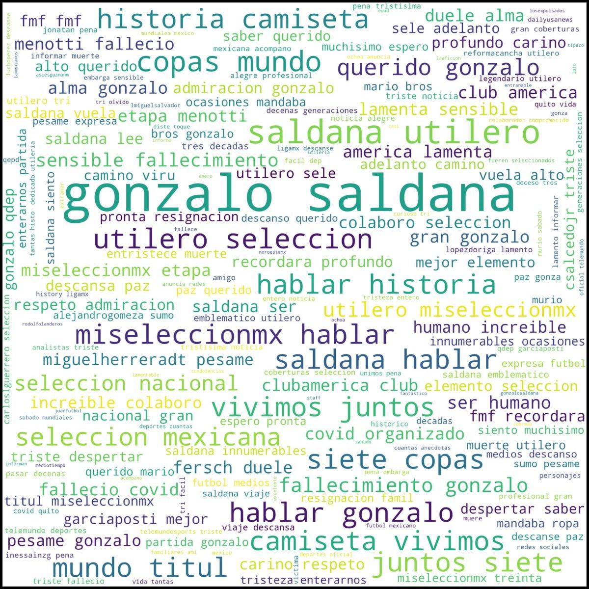 Gonzalo Saldaña, utilero de @miseleccionmx por 28 años ha fallecido. #QEPD  Realizamos #datamining, análisis de palabras frecuentes y perfil horario de publicaciones a 500twits  Síguenos  #DataScience  #FelizDomingo #DataAnalytics