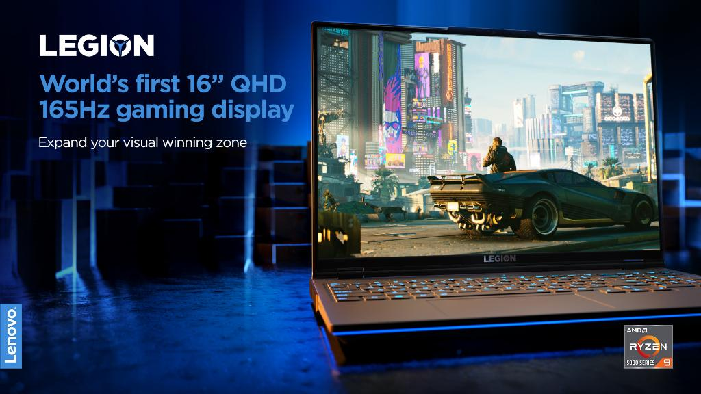 """Get a display with greater gaming real estate and gorgeous visuals. The World's first 16"""" QHD 165Hz gaming display is powered by @AMD Ryzen™ 5000 H-Series Mobile Processors and clocks under 3ms response times. #PoweringTheImpossible #CES2021 #LenovoCES"""