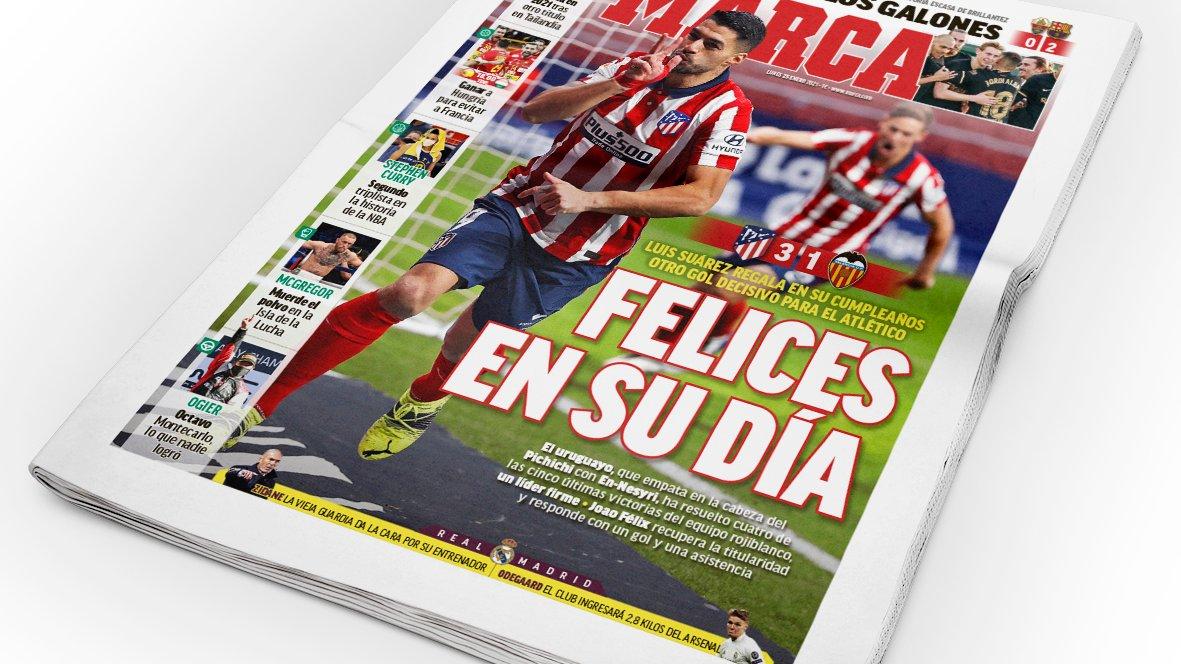 La portada de mañana, 25 de enero. #Portada #Portadas #FrontPage  #Marca #LaPortada #Tapa #Capa #DiseñoGráfico #Tipografía  #AtleticoMadrid  #LuisSuarez  #LaLiga #LaLigaSantander
