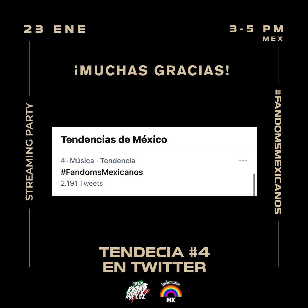 Queremos agradecerles a todas las personas que se sumaron al Streaming Party ❤️   Logramos ser Tendencia #4 en México 🔥  Nos sorprendió la cantidad de participantes, y más allá de quién ganó, esperamos que hayan disfrutado de la música 🎶  En minutos anunciamos al ganador 🎁✨