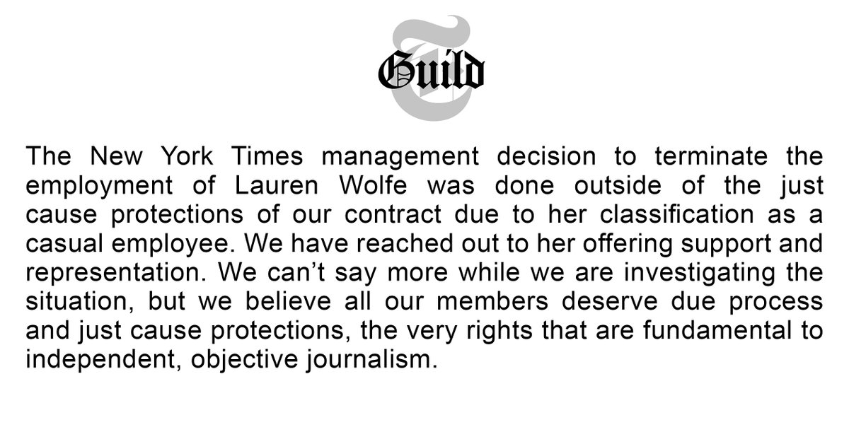 TimesGuild statement on Lauren Wolfe: