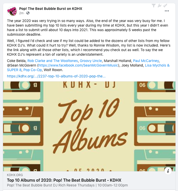 So honored to be on the top 10 for 2020 list for Pop! The Beat Bubble Burst on KDHX, St. Louis. #reviews #bestof2020 #music #powerpop #StLouis #KDHX #RadioShow