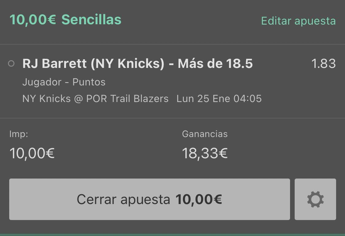 La apuesta de hoy aquí la tenéis. Barret jugando a un gran nivel y Portland precisamente no destaca por su defensa. Stake 1. Suerte 🍀  #Nba #Barrett #Knicks #Pick #PickNba