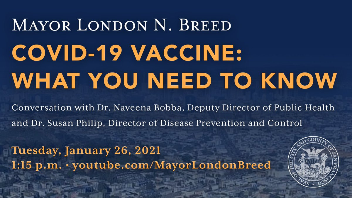 Please tune in Tues, 1/26 at 1:15pm to hear our own Dr. Naveena Bobba, Deputy Director of Health and Dr. Susan Philip, Director of Disease Prevention and Control, talk about the COVID vaccine https://t.co/Z9pDkLtzzp