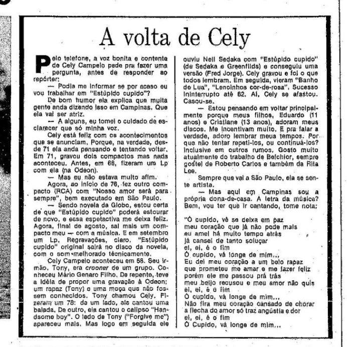 #EstúpidoCupido também marcou a volta ao estrelato de Celly Campello que havia deixado o mundo da música para se casar e cuidar dos filhos.  Aliás, essa história me lembrou a da Dona Miracy que foi contada hoje no #TheVoiceMais    Matéria de O Globo.