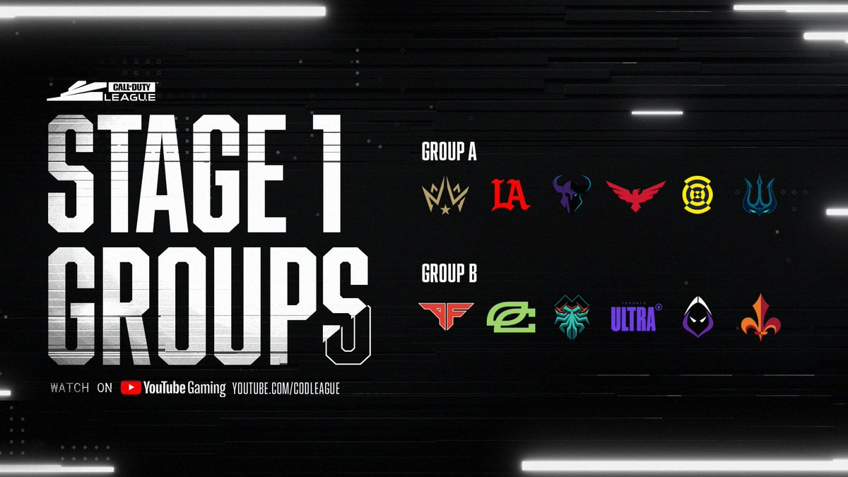 Presenting the groups for #CDL2021 Stage 1!  The 12 Call of Duty League teams are set to begin competition February 11 at Opening Weekend.