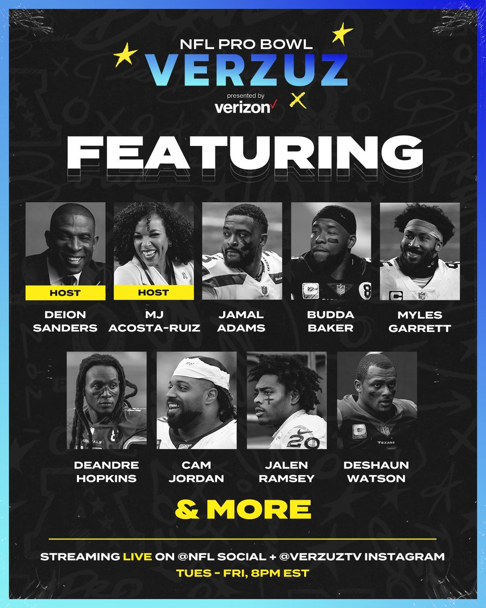 The NFL Pro Bowl Verzuz line-up has some serious star power. 🤩  Next week, Pro Bowl players will face off in the ultimate highlight competition. Stay tuned, full schedule & match-ups coming Monday.  #NFLProBowlVerzuz | @verzuzonline  @verzuzsports