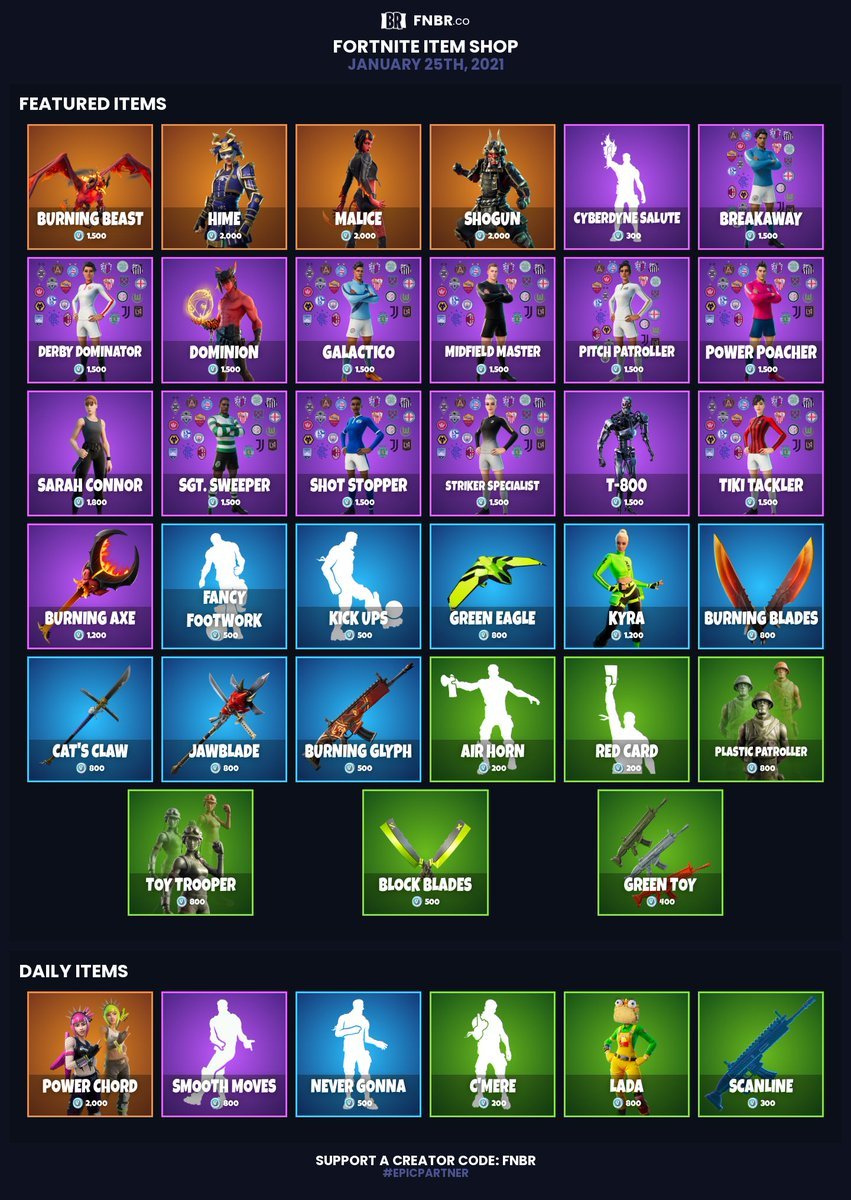 #Fortnite Item Shop for January 25th 2021 |  Use creator code 'fnbr' if you'd like to support us! (#epicpartner) Set personalised reminders on our iOS app: