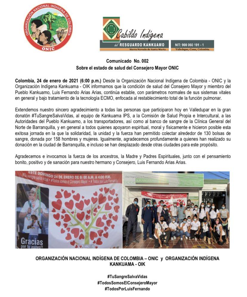 #ATENCIÓN  Desde @ONIC_Colombia y el @cabildokankuamo emitimos el Comunicado 002 sobre el estado de salud de nuestro Consejero Mayor @luiskankui. @cabildokankuamo @cabildokankui @Jaimeluiskan @MovimientoMAIS @MPCindigena. #TuSangreSalvaVidas #TodosPorLuisFernando.