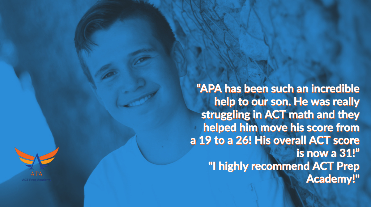 """APA has been such an incredible help to our son. He was really struggling in ACT math and  they  helped him move his score from a 19 to a 26! His overall  ACT score is now a 31!""    ""I highly recommend ACT Prep Academy!""  #ACTPrep #ACTProTip#SAT #ACT #SATprep  #testprep #tutor https://t.co/OiMiLcXxlN"