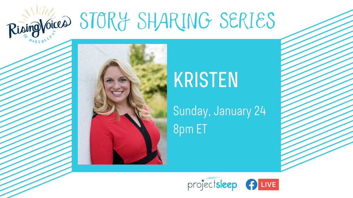 #RisingVoicesofNarcolepsy speaker Kristen shares her #narcolepsy story #live in one hour, 8pm ET 1/24! Stick around for our Q&A session after -- and if you can't make it tonight, we'll have a recording available.   See you for #StorySharing soon!