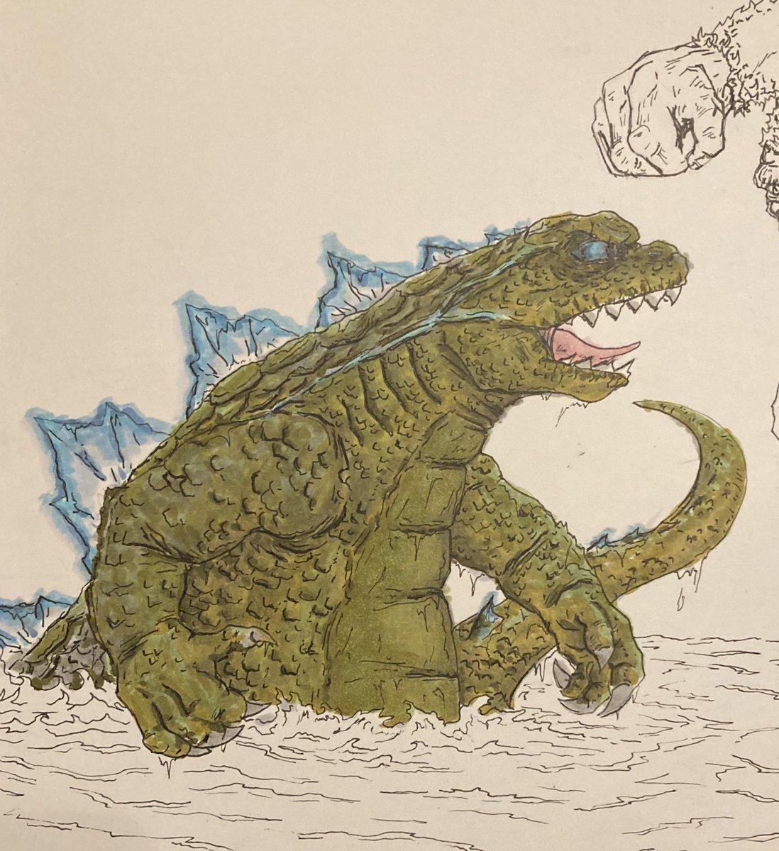 Work in progress.  Godzilla in Copic markers.  #godzilla #godzillavskong #monster #drawing #art #comics #comicart #movies #teamgodzilla