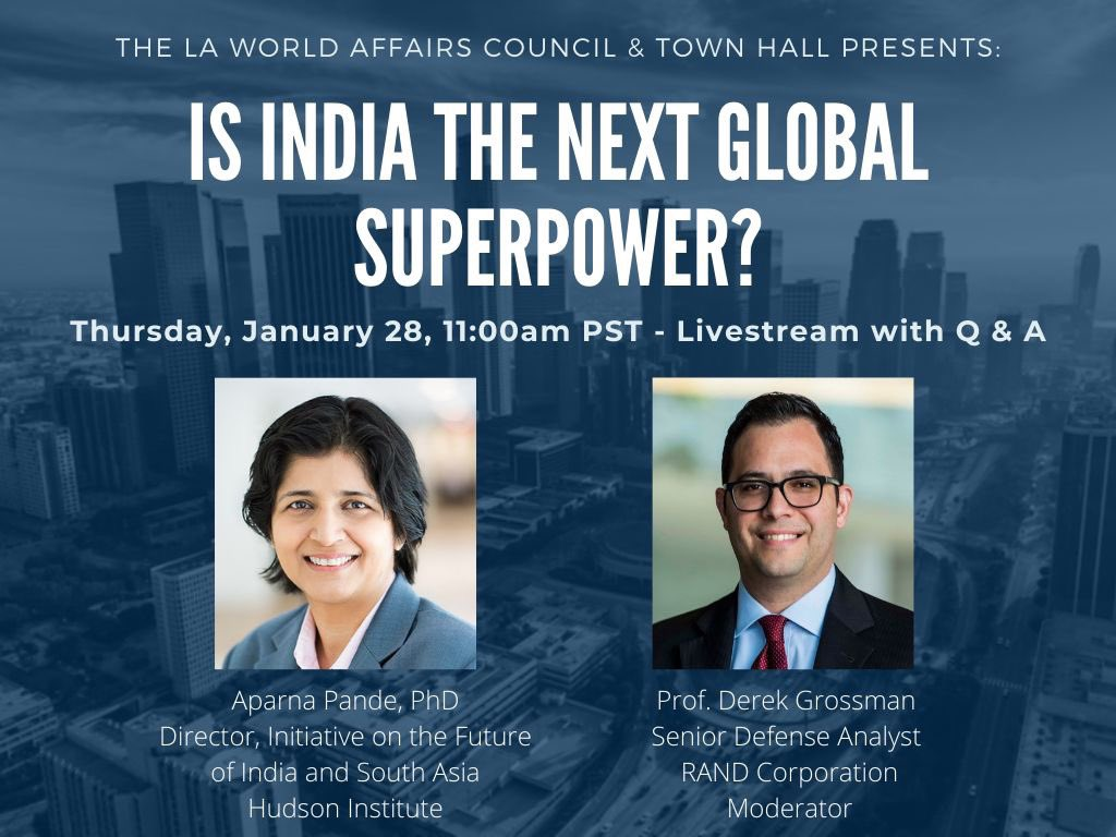 Thrilled to be moderating this upcoming @lawacthevents discussion with @HudsonInstitute's @Aparna_Pande on whether India is the next global superpower. Tune in this Thursday, January 28th at 11am PST!