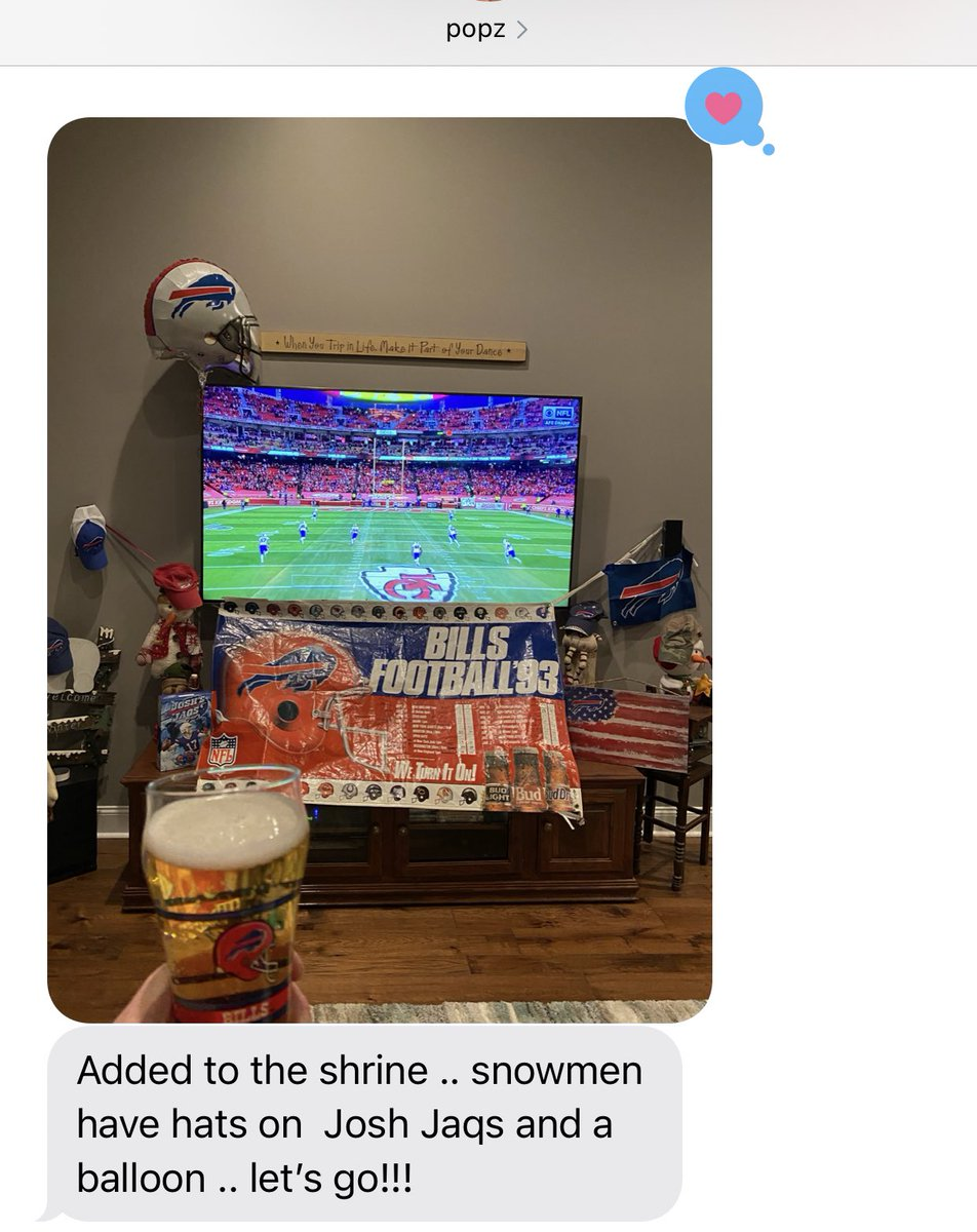 my dad bullied me into being a Bills fan  for years and I'm SO glad he did, but also I NEED the Bills to win for him today🥺♥️💙 they're both so proud and precious😭 #BUFvsKC #BillsMafia