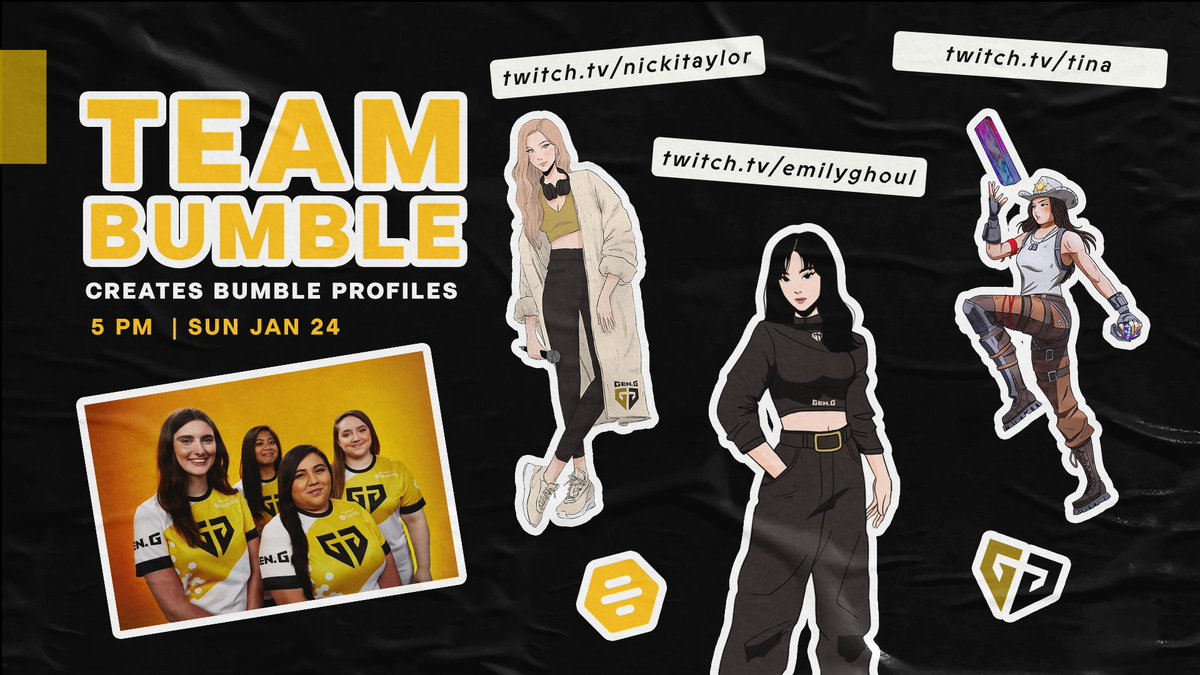 We have another #TeamBumble stream coming your way at 5 PM PT! ✨  This time catch @TINARAES, @emilyghoul1, and @NickiTaylor create Bumble profiles for some of their favorite characters and open up some Pokemon cards on each of their channels! #BumblePartner 🐝