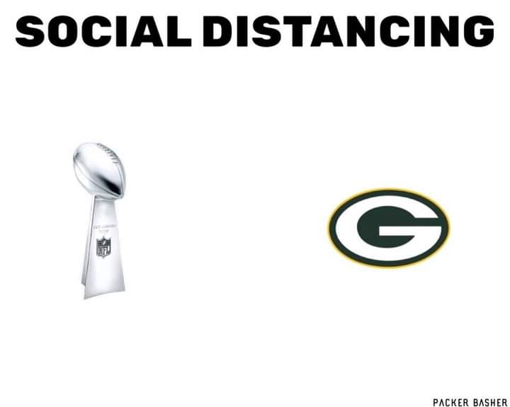 The #Packers are #SocialDistancing for the #SuperBowl.  #NFCChampionship #NFLPlayoffs #TBvsGB #TomBrady is the  #GOAT