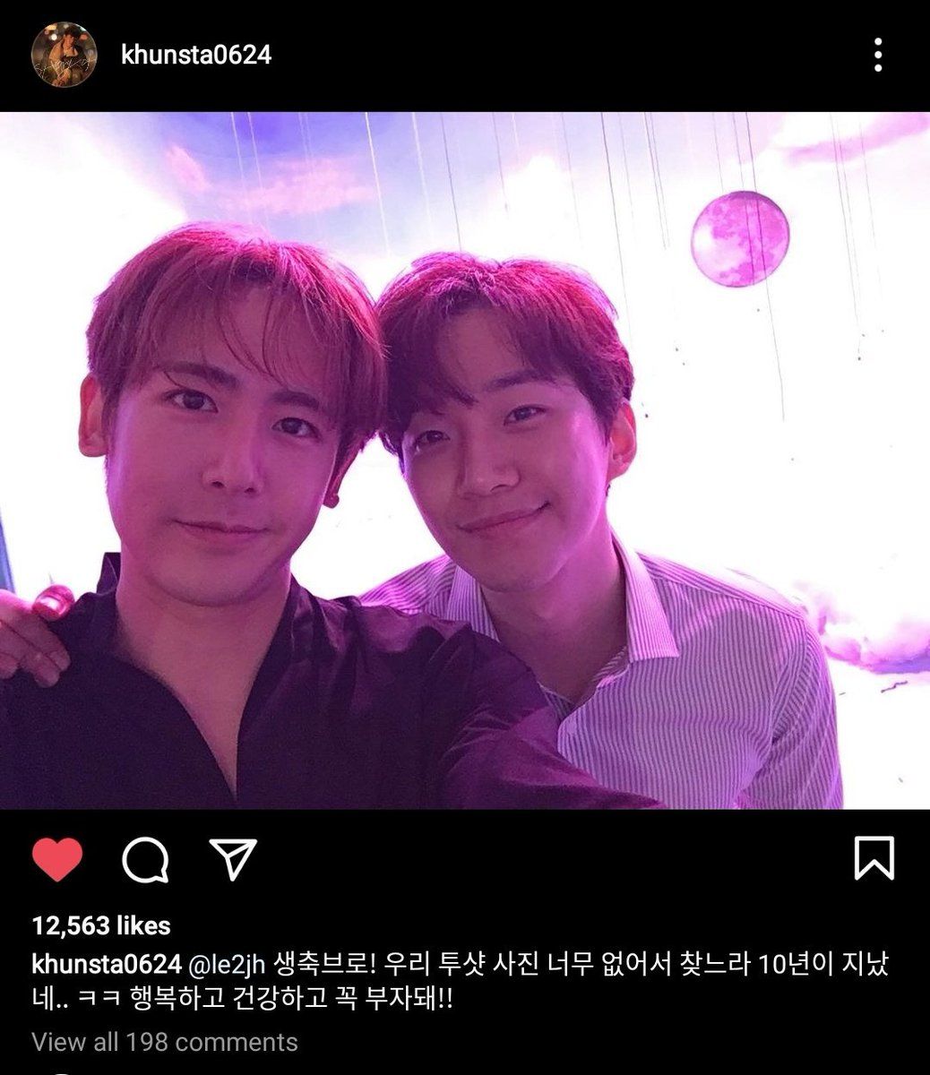 [Eng Trans] Nichkhun Instagram update with Junho ❤️💛  Happy birthday bro! 10 years have past, and we don't really have photos of the 2 of us.. kk be happy, healthy and wealthy!!  ()  #HappyJunhoDay #준호라는_눈꽃이_내려온_날 #준호야_해피벌스데잊