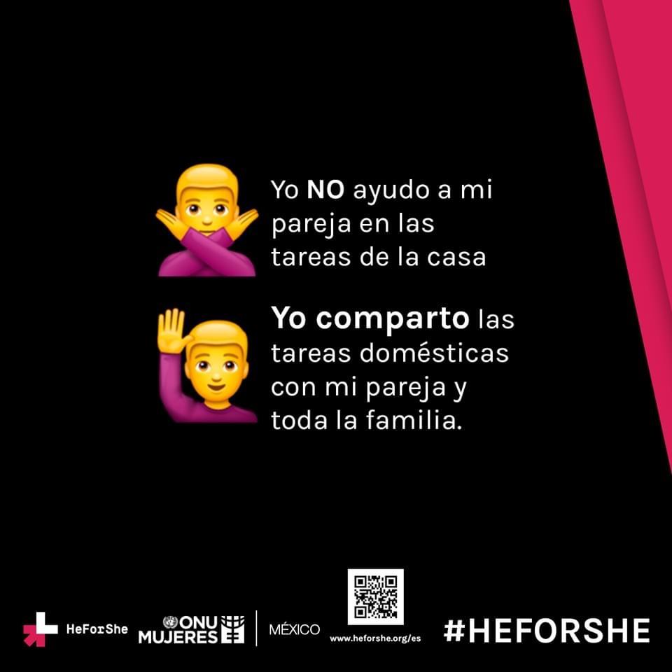 Es tiempo fomentar una corresponsabilidad en las tareas domésticas y cuidados de personas. Conoce más:  #HeForShe