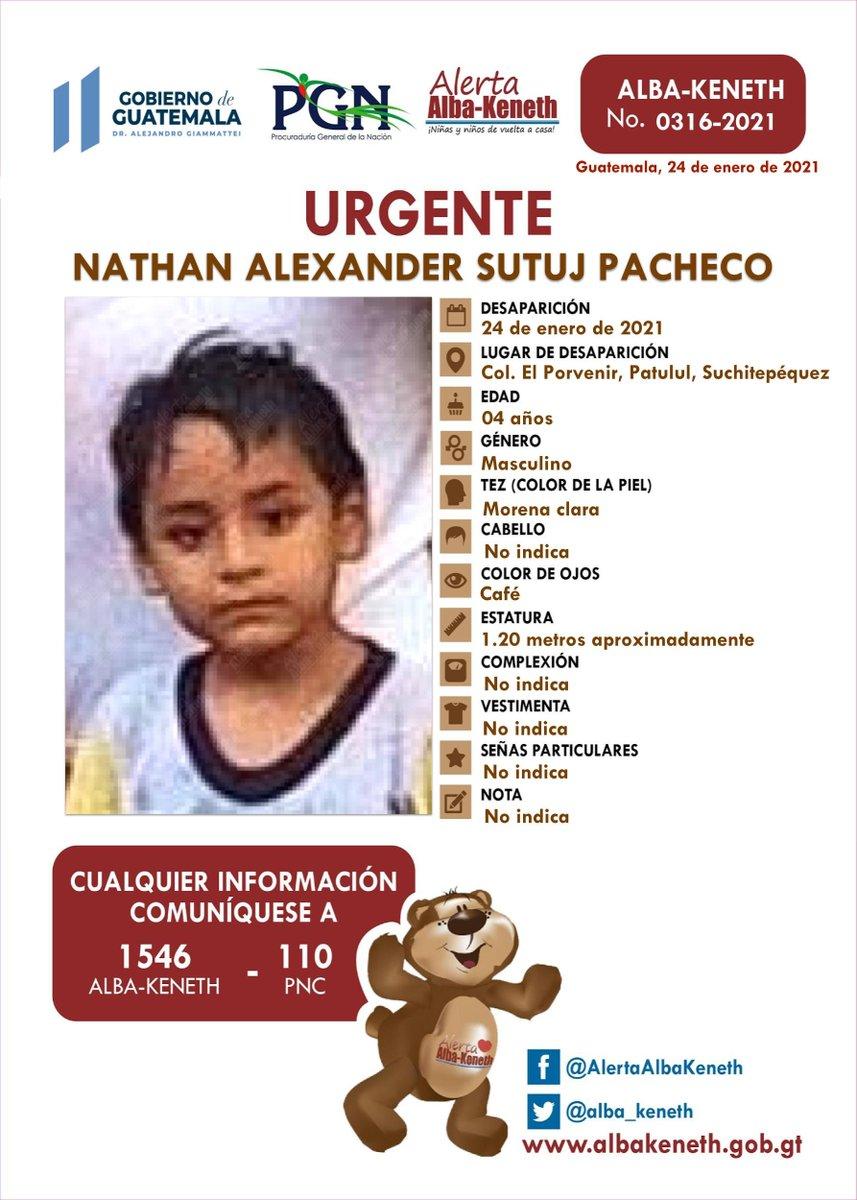 #AlertaAlbaKeneth ⚠ | Nathan Alexander Sutuj Pacheco, de 04 años de edad. Desapareció el 24 de enero de 2021, Col El Porvenir, Patulul, Suchitepequez.    🔃Comparte y ayúdanos con su localización 📞Si tienes información llama al 1546.