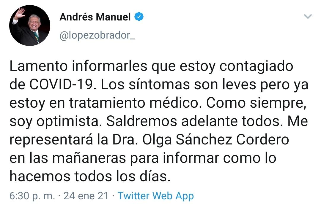#ÚLTIMAHORA | Primero Bolsonaro, luego Trump y ahora AMLO: @lopezobrador_, el presidente de México, dio positivo a Covid-19.