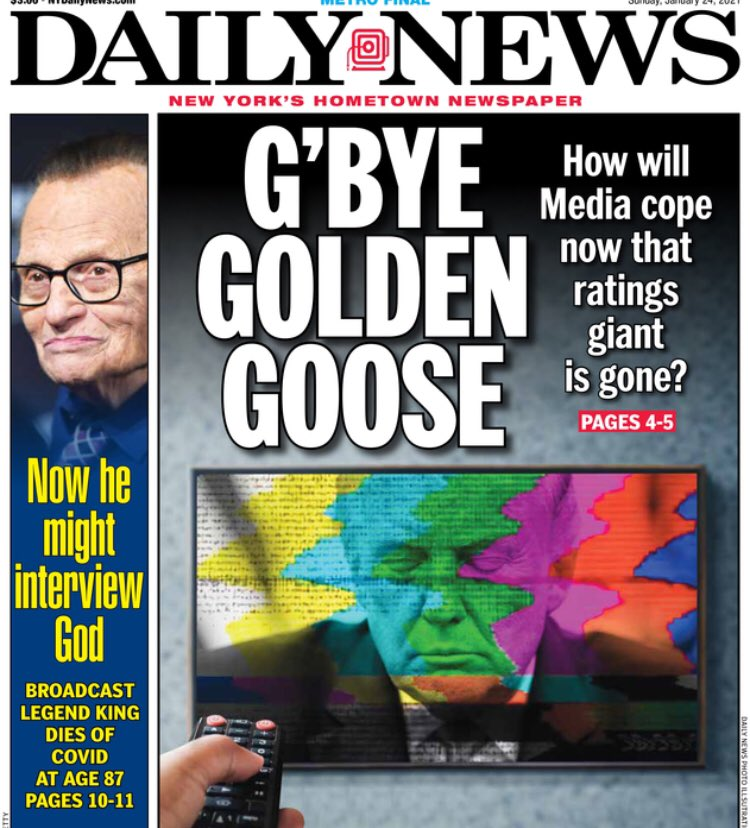 "test Twitter Media - ""G'Bye Golden Goose: How will media cope now that ratings giant gone?"" Daily News puts on its front page the question being asked in a lot of newsrooms behind the scenes. https://t.co/VS5nIapeAx"