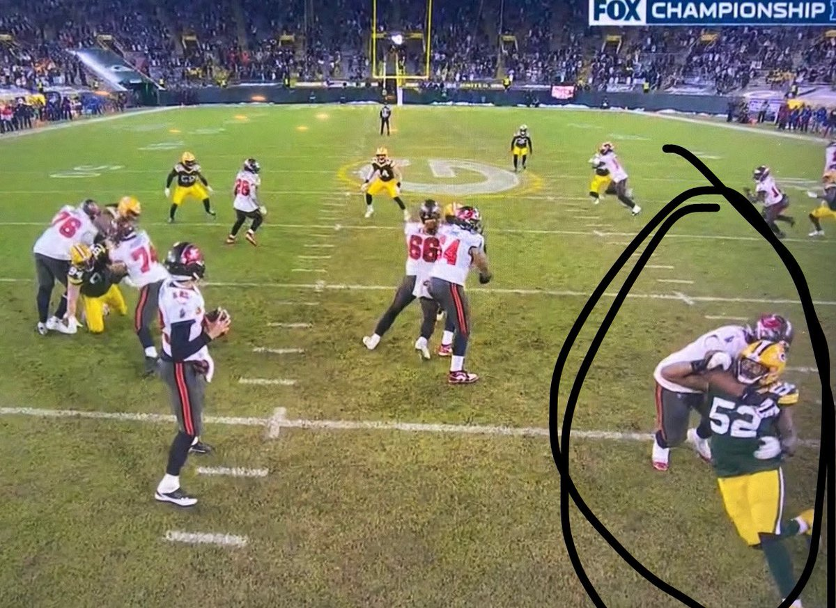 THIS IS HOLDING!! How tf they gonna call the PI, but not see this on the SAME PLAY!! Like what the actual clownery?!🤡🤡🤡 #ChampionshipSunday #TBvsGB