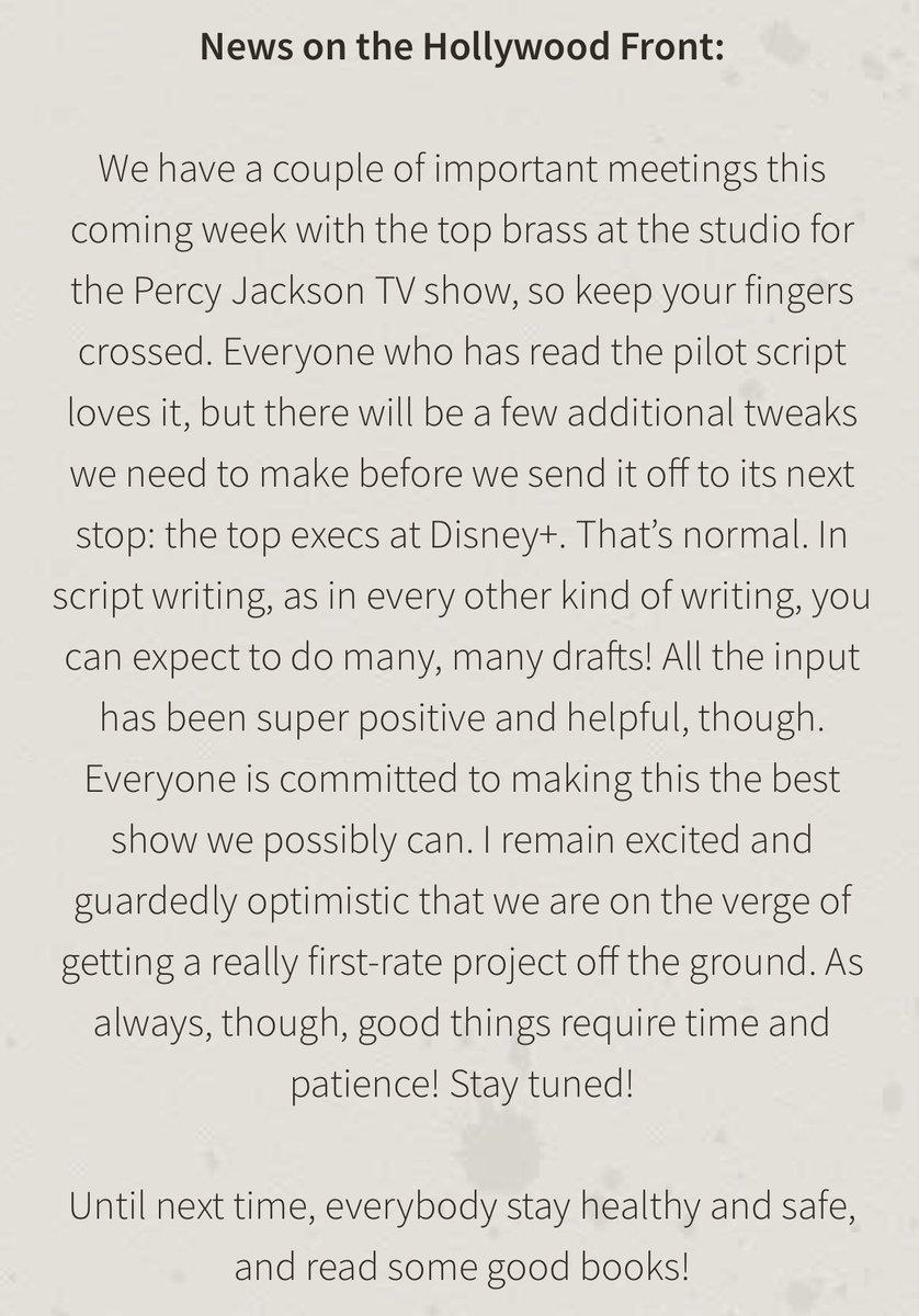 Update on the #PercyJackson tv show #DisneyPlus 🔱