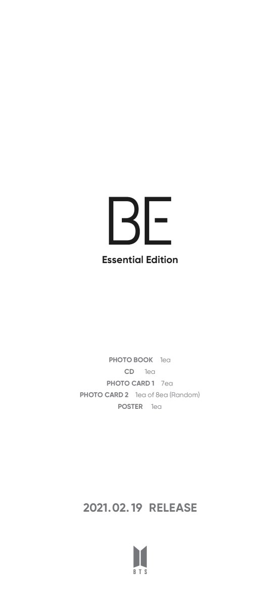 Replying to @bts_bighit: [공지] #BTS 'BE (Essential Edition)' 예약 구매 안내 (+ENG/JPN/CHN)