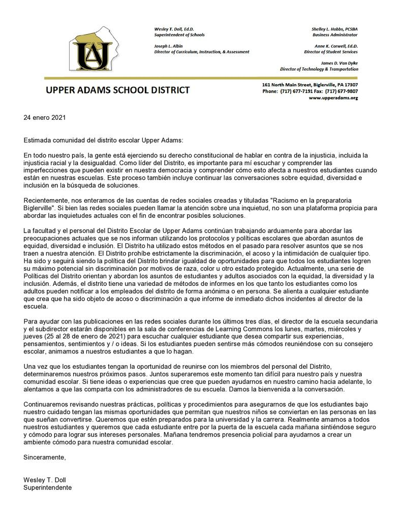 Upper Adams S D On Twitter 01 24 2021 Superintendent Dr Doll Has Shared An Extremely Important Communication Concerning Recent Social Media Activity Concerning Biglerville High School Please Read The Attached Letter Provided In