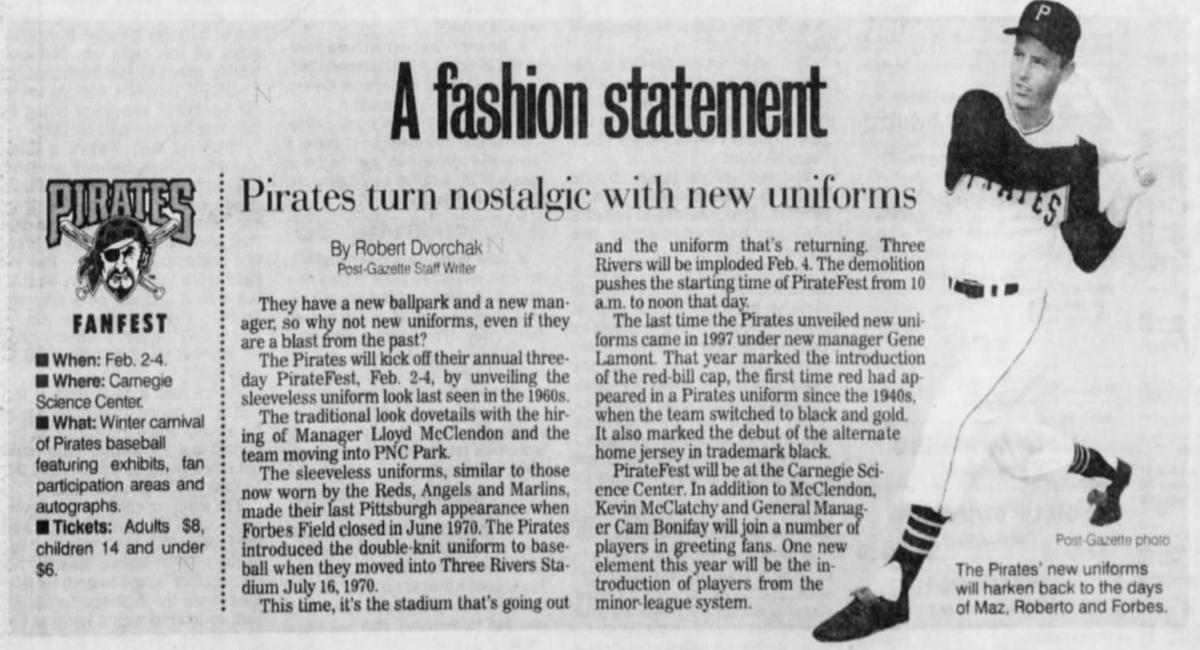20 years ago (1/24/01): #Pirates return to sleeveless jerseys in 2001. #LetsGoBucs