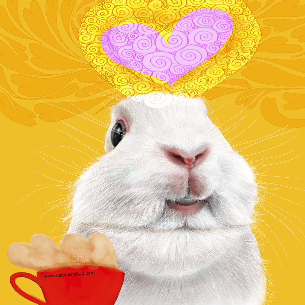 Smile and choose to be hoppy and grateful! What my #coffee says to me Jan 24 #bunny #rabbit #bunnylovers #whiterabbit #smile #choose #happy #grateful #abundant #moment #storyteller #illustrator #mentalhealth #sundayfunday