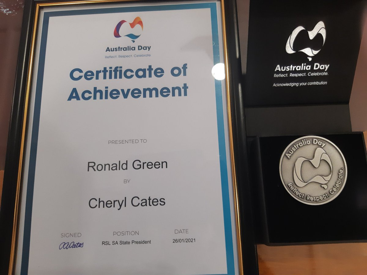 test Twitter Media - RSL SA fundraising appeals volunteer Ron Green was presented with an Australia Day medallion and certificate, acknowledging his dedication and contribution, by state president Cheryl Cates https://t.co/uSKaucXzg2