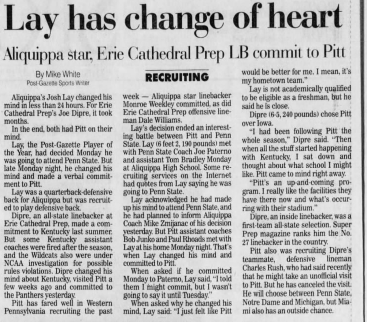 20 years ago (1/24/01): Aliquippa's Josh Lay commits to #Pitt. #H2P