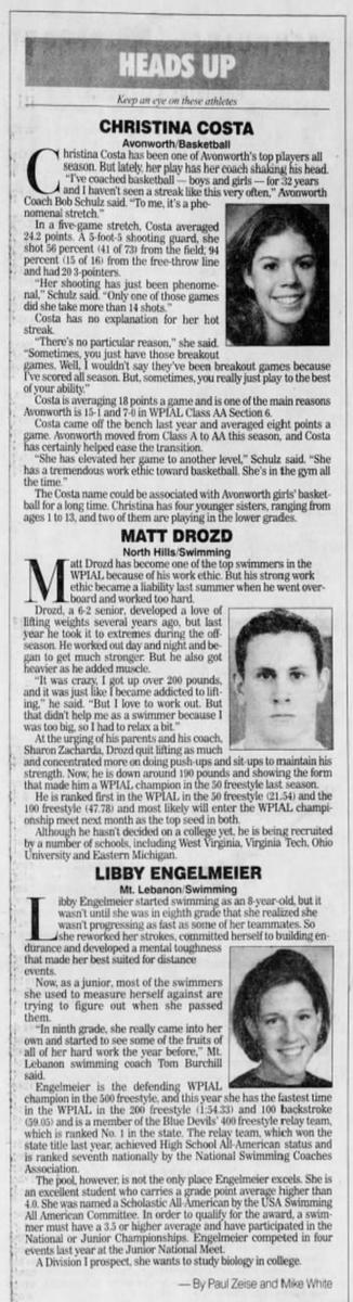 20 years ago (1/24/01): Pittsburgh Post-Gazette highlights Avonworth HS's Christina Costa, North Hills HS's Matt Drozd, Mt. Lebanon HS's Libby Engelmeier. #WPIAL