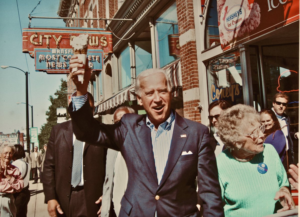 """In 2008, vice presidential candidate Joe Biden stopped for ice cream with @sensherrodbrown's mother, Emily Brown. Their initial exchange:  JB: """"Mrs. Brown, you must be very proud of Sherrod.""""  EB: """"I'm proud of all my sons."""""""
