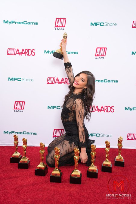 3 pic. The happiest girl . So proud to be holding these awards ❤️✨   @avnawards  @AVNMediaNetwork  @MotleyModels