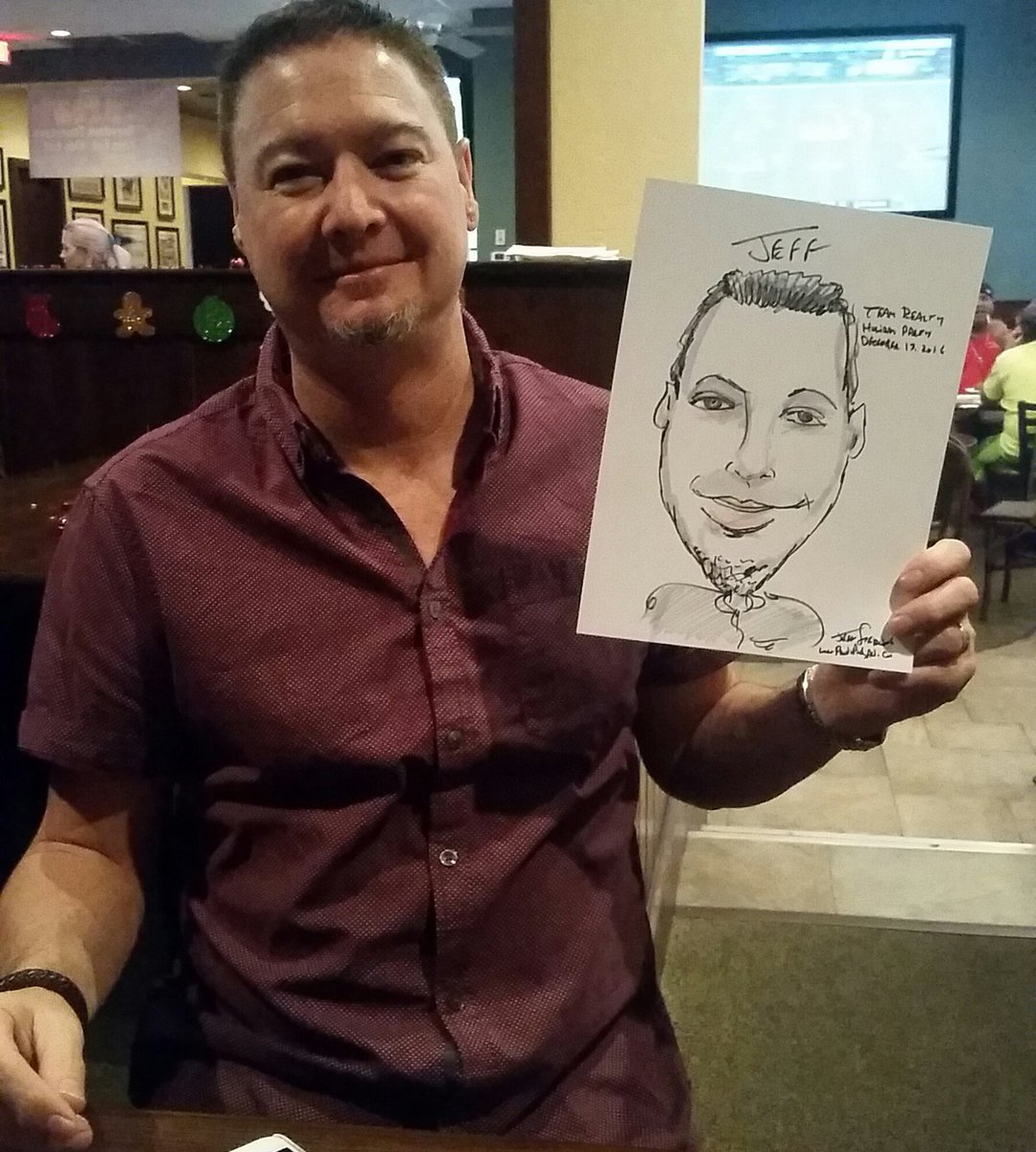 #Realtors #RealEstateAgents #HolidayParty #ChristmasParty at #BrusRoom in #CoralSprings near #Tamarac and #ParklandFlorida included #Caricature Entertainment by #FortLauderdaleCaricatureArtist Jeff Sterling of