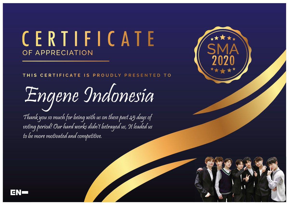 [ C E R T I F I C A T E ]  Untuk mengapresiasi kerja keras Engene Indonesia di SMA berikut adalah sertifikat apresiasi untuk Enjina 👏👏👏   T H A N K Y O U  ♥️♥️♥️♥️♥️