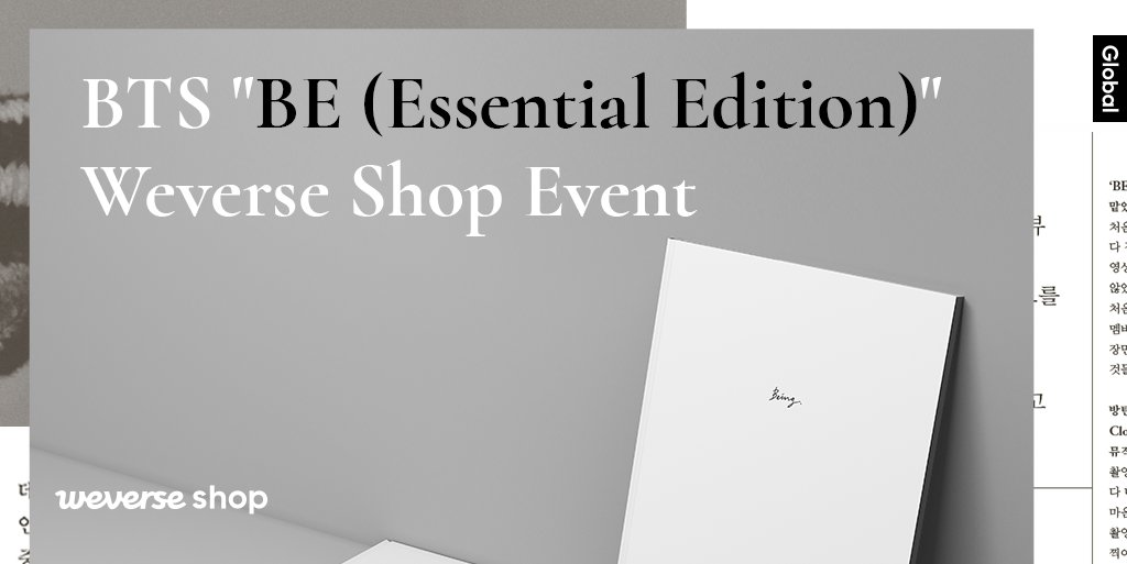 #BTS BE (Essential Edition) 예약 구매자 대상, #위버스샵 단독 이벤트  응모 기간 내 GLOBAL Shop에서 앨범 구매하고 이벤트에 응모하시면, 500명을 추첨하여 'BE' Interview Photobook📓 을 드립니다.  📆응모 기간 : 1/25(월) 11:00 ~ 2/14(일) 23:59 (KST)  👉