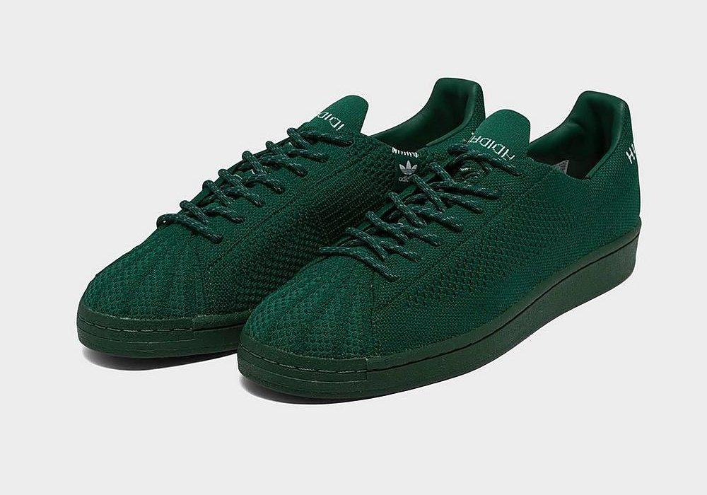 #ad The Pharrell x adidas Superstar Primeknit 'Dark Green' is now available via @footlocker! |$140| #SneakerScouts #AFCChampionship @Pharrell @adidasUS