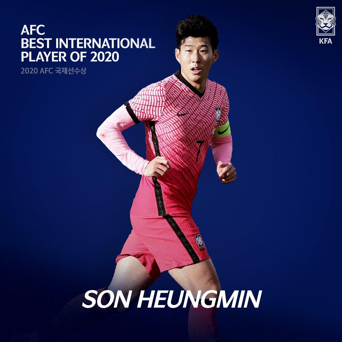 이 선수의 국적은 대한민국입니다!🇰🇷 #손흥민! 2020 AFC 국제선수상 수상!🎉🎉  #AFC #Best_International_Player_of_2020