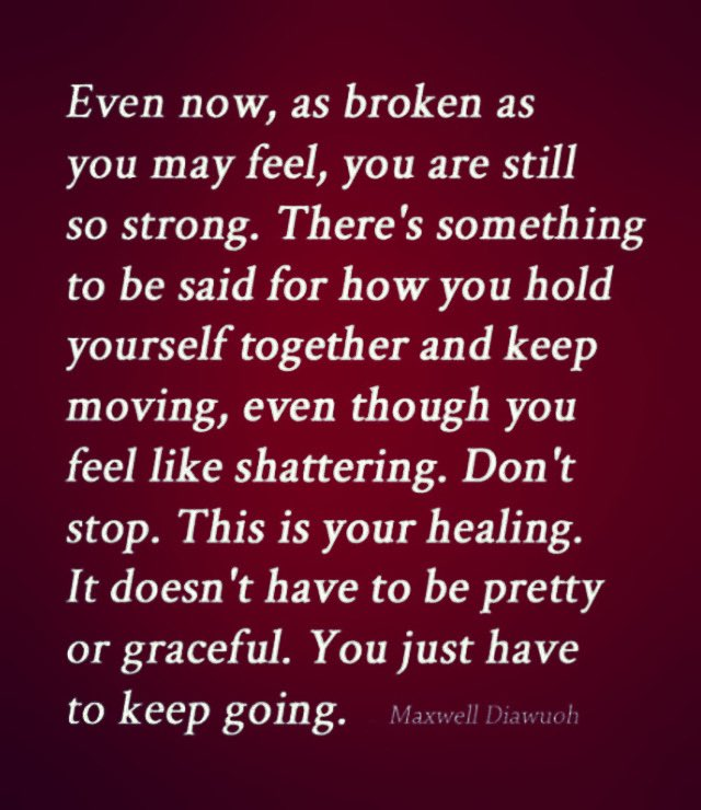 "This week's theme is ""HEALING""... #drewdailymotivation #healing #evennow #broken #feel #sostrong #holdyourselftogether #keepmoving #dontstop #thisisyourhealing #pretty #graceful #just #keepgoing #everyday"