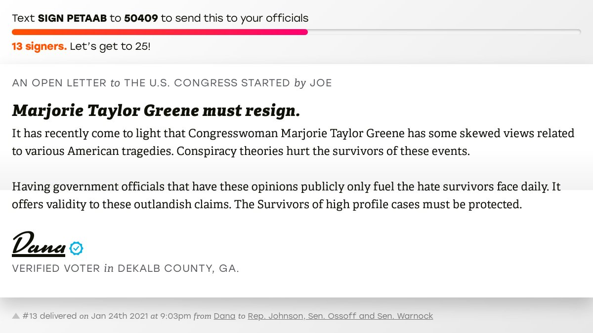 "🖋 Sign ""Marjorie Taylor Greene must resign."" and I'll deliver a copy to your officials:   📨 No. 13 is from @legallyleader to @RepHankJohnson, Sen. Ossoff and @SenatorWarnock #GA04 #GApol"