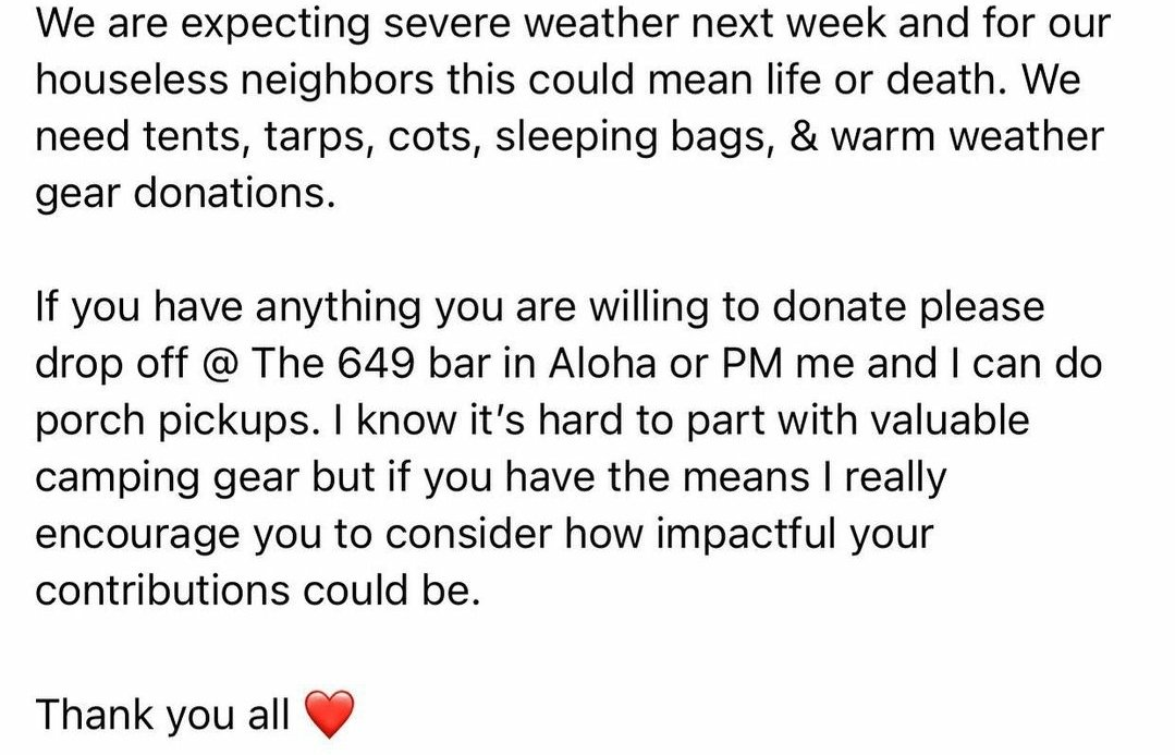 In/around Beaverton, Oregon? The 649 in Aloha is collecting items to distribute to those in need for the colder temps! If you need items picked up, I can find someone to do that. Pm me! 🙂  #pdx #Portland