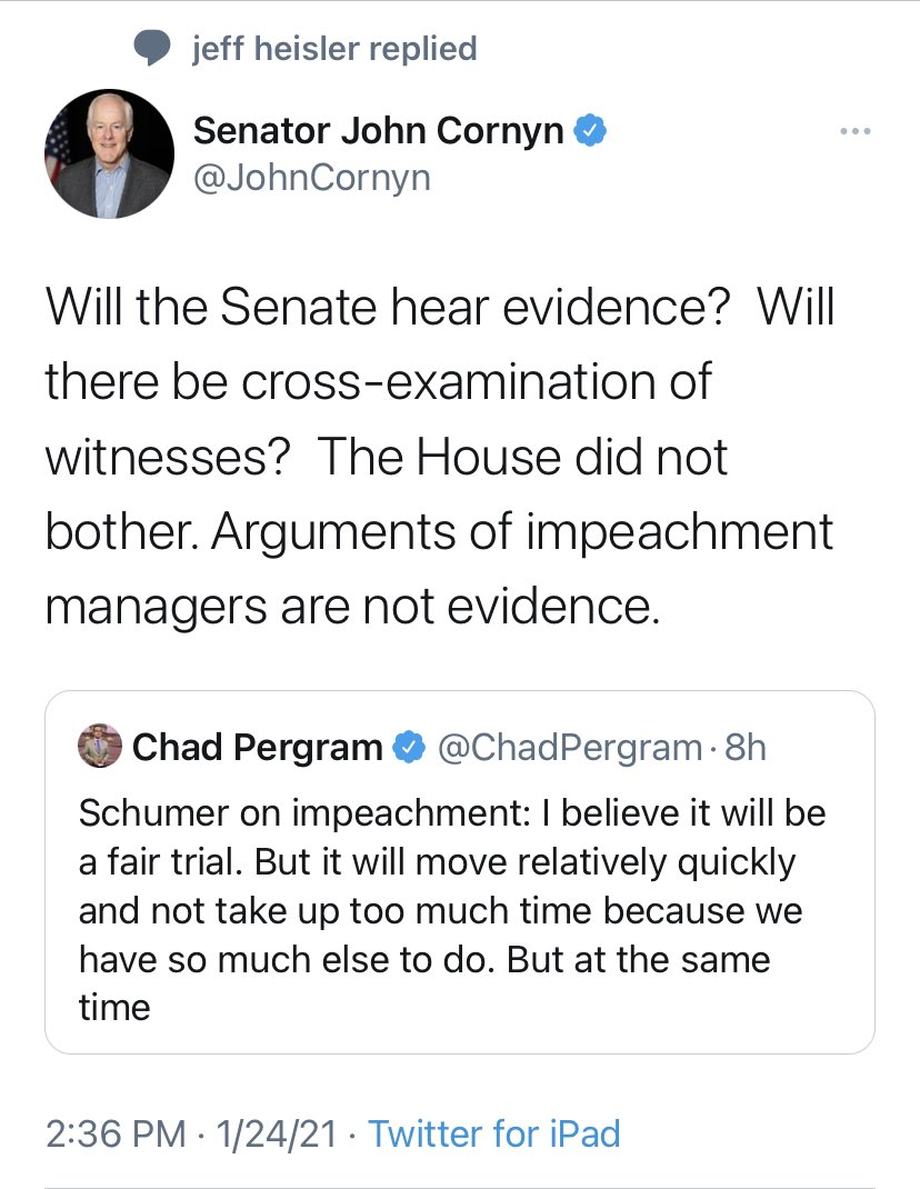 Hear evidence? Witnesses?? Now he wants witnesses & evidence? Republicans are out of their damn minds.