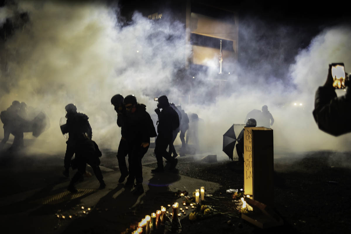 """Teargas is a chemical weapon, banned in intl warfare.   This was Federal ofcrs response to graffiti & some """"trespassing on Federal property"""" (the driveway of ICE)   I was in DC on Jan6; it's impossible not to note the vastly different response by law enforcement .  #portland #pdx"""