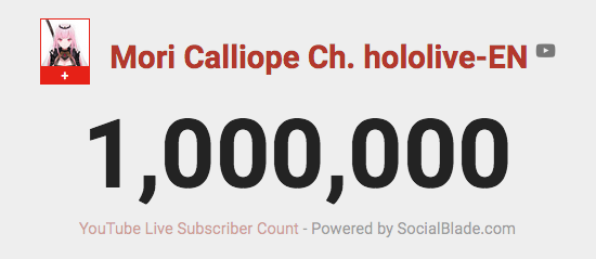 Congrats @moricalliope on hitting 1 million subscribers! Been with you from the start and being the 1st membership I joined last year! Keep up the great work and work harder to reach the next milestone! 🎉🍷🎉 #morillion