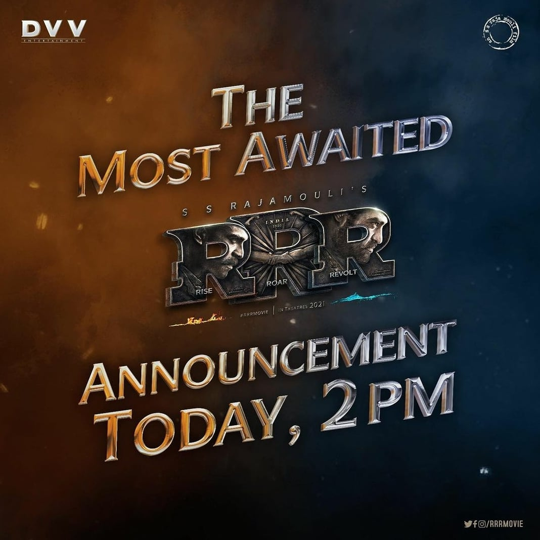 #RRR fans! Something excited coming at 2 pm today! #StayTuned!  #RRRMovie #RamCharan #JrNTR #ssrajamouli #aliabhatt #AjayDevgan  #ComingSoon #Cinepolis #CinepolisIndia
