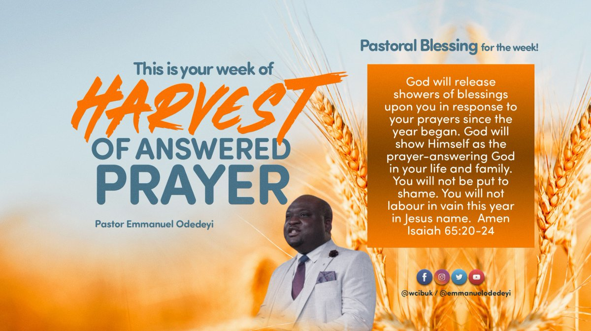Hello Winners Family! Congratulations on completion of the 21-day Prayer and Fasting for the year. This week shall be your week of harvest of answered prayers, prophetically declared by @ManuelOdedeyi. Stay blessed!!   #WCIBUK #TurnaroundEra #HappyNewWeek #Harvest #Prayer